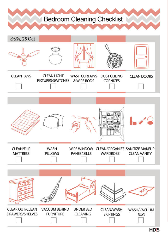 Diwali cleaning tips free checklists design your home with style bedroom cleaning checklist pronofoot35fo Image collections
