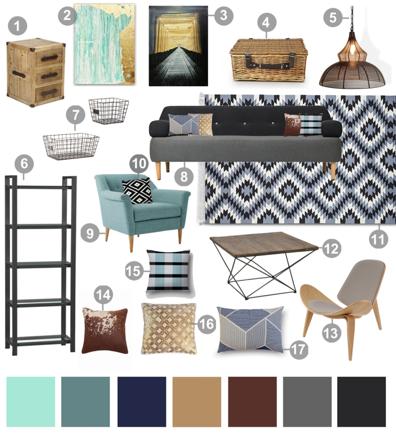 Blue Grey Mood Board Living Room Option