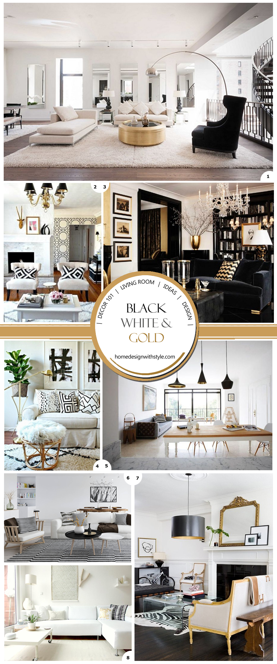 Black White And Gold Living Room Decor Pin