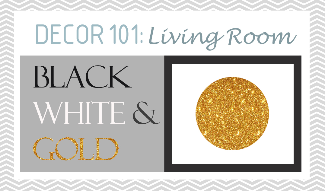 Black White Gold Living Room Decor Header