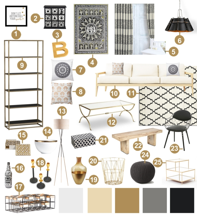 decor 101 black white and gold living room with tribal accents design your home with style. Black Bedroom Furniture Sets. Home Design Ideas