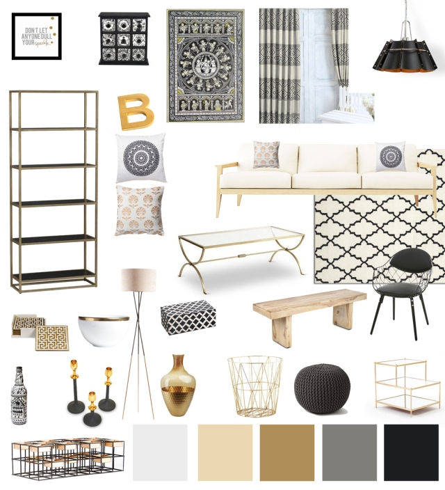 black white gold living room decor