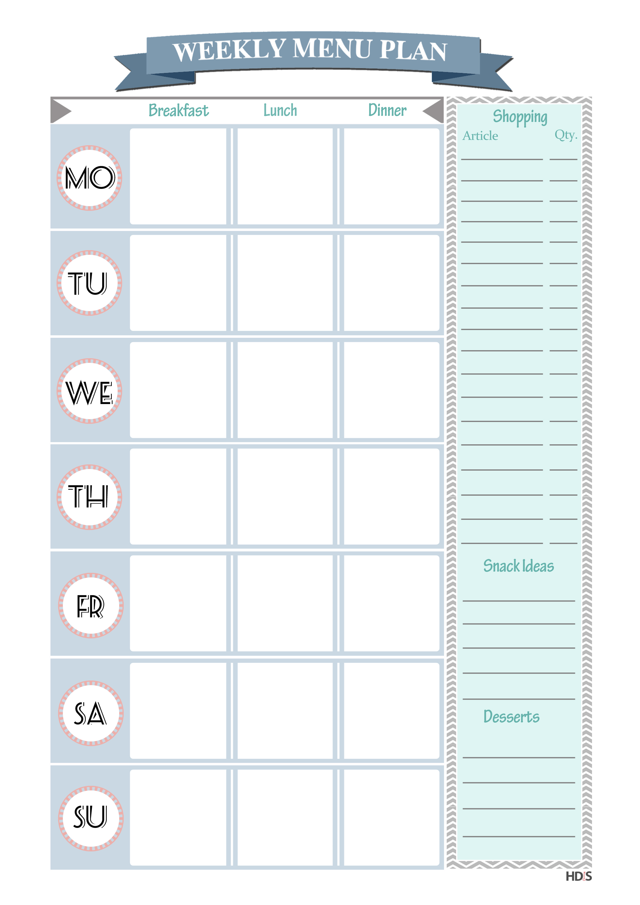 menu planner and editable grocery list printables | design your home