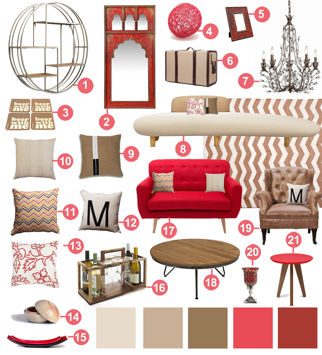 Red Tan Beige Living Room Decor Link Part 57