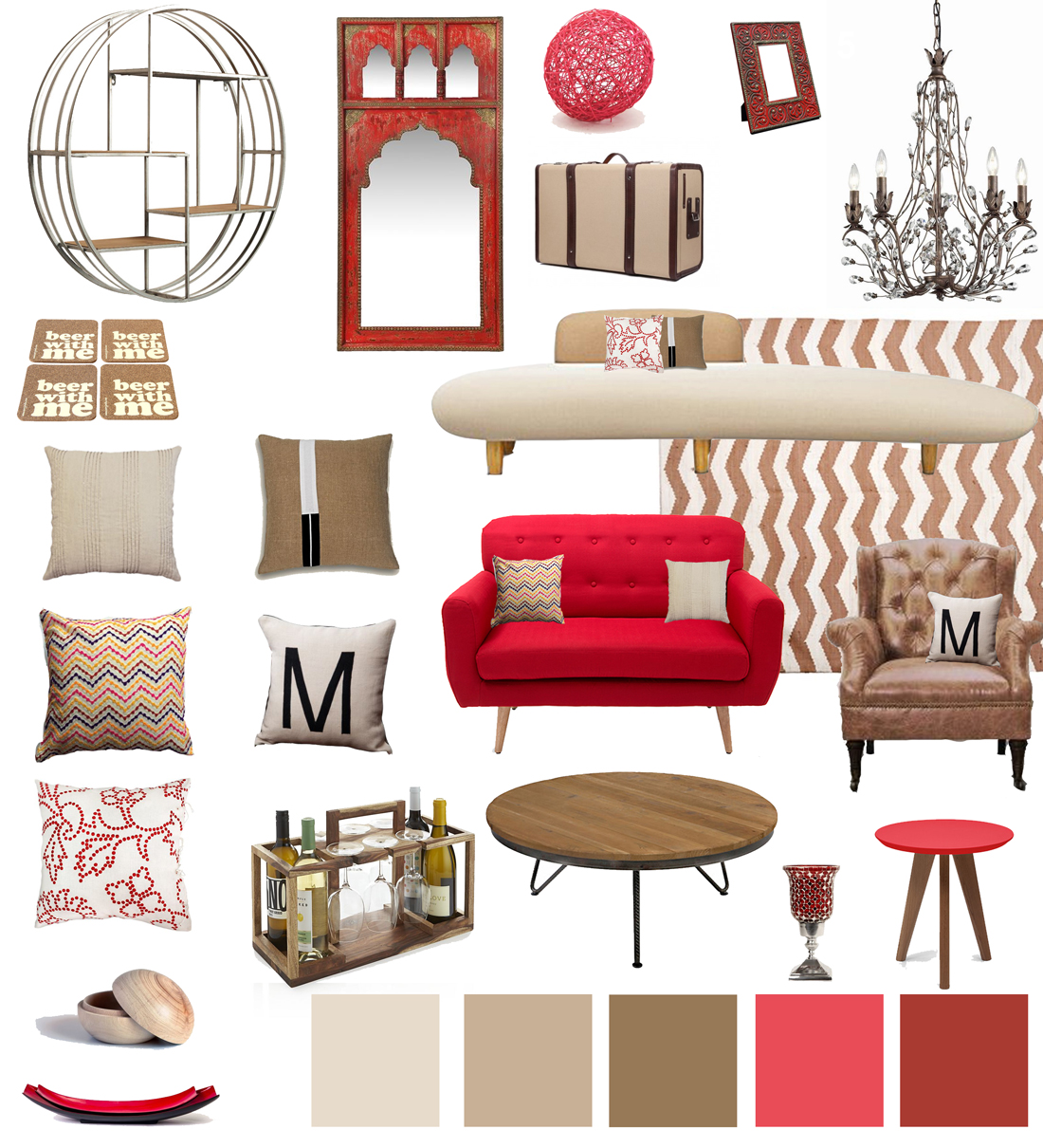 Red-tan-beige-living-room-decor