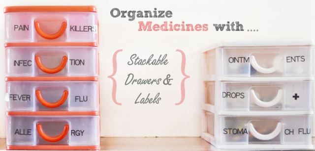 organized medicines in stackable drawers